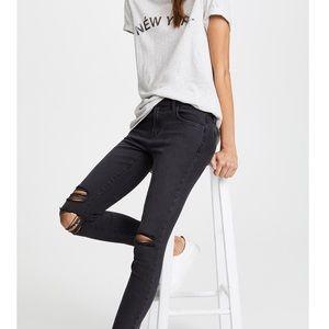 ☕️J BRAND Black Mid Rise Distressed Skinny Jean 25